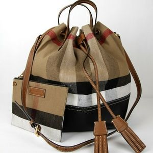 Bucket Bag Grainy Check with Pouch Brown Backpack